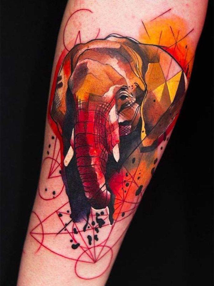 9 tattoo vorschläge arm tätowieren geometrische figuren roter elephant 25 tatuajes en brazos para mujeres