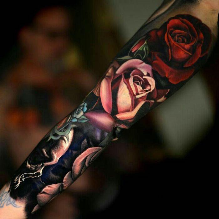 9 tattoo vorschläge rosen schädel blumen bunte tätowierungen am arm 25 tatuajes en brazos para mujeres