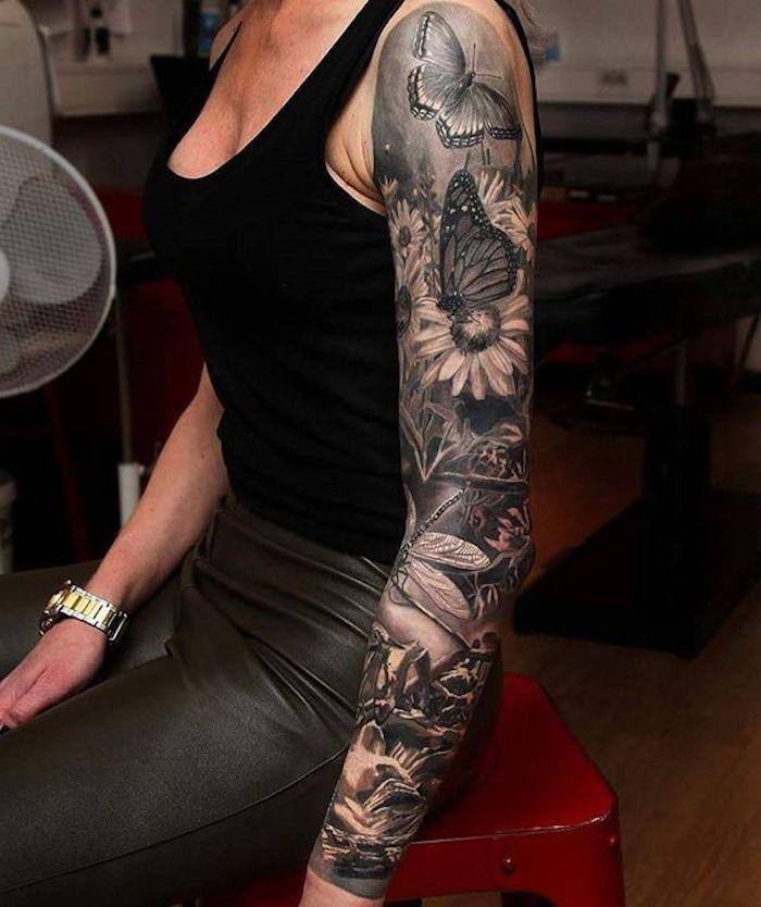 9 tattoos für frauen armbandnuhr schwarze bluse rock schmetterlinge blumen 25 tatuajes en brazos para mujeres