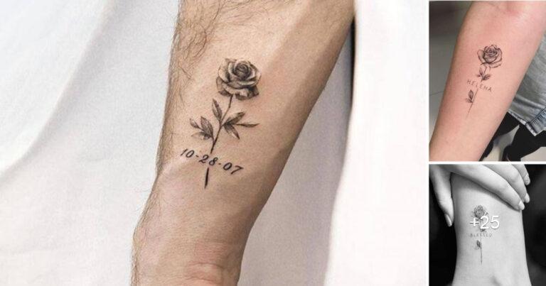 Encantadores Tatuajes de Rosas con Fechas o Nombres