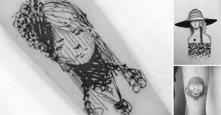 Tatuajes de líneas erráticas de GUGA SCHARF, inspirados en dibujos de cuaderno