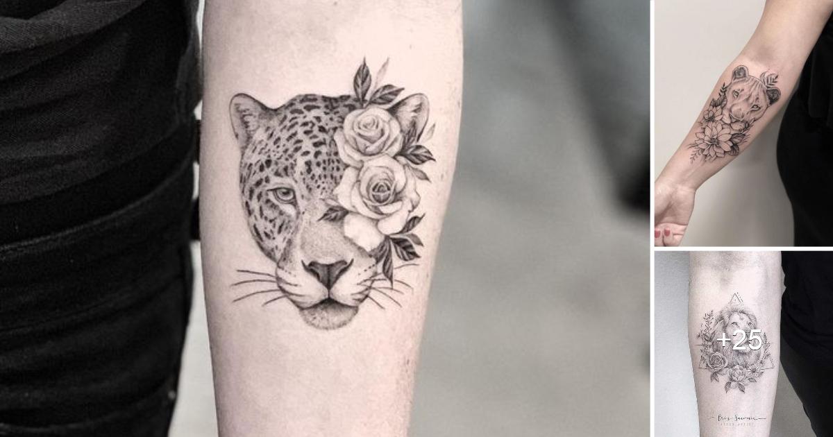 Hermosos Tatuajes de Felinos y Flores, una combinación extraordinaria