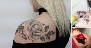Los mejores 25 Diseños de Tatuajes de Rosas en los Hombros
