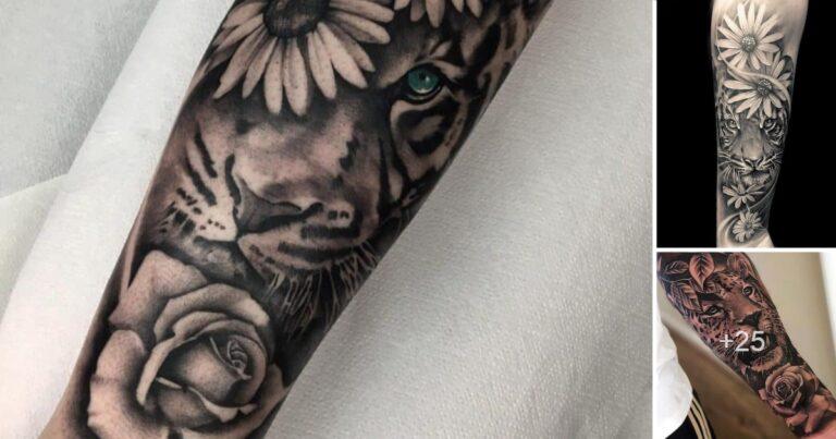 Los 25 Mejores Diseños de Tatuajes de Rosas y Tigres